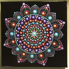 Hand Painted Mandala on Canvas, Meditation Mandala, Dot Art, Calming, Healing, # 515 by MafaStones on Etsy