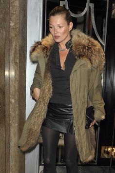 Kate Moss fur parka and all black outfit