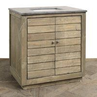 SLATTED FRONT VANITY WASHED W/BLUE STONE FREE SHIPPING