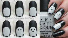 adipose nail art... the first 2 steps look like penguins. I want to say they're cute but they're made of fat.