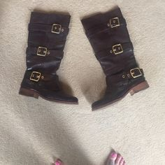 Coach Riding Boots Sale!!!Brown leather with gold buckles - great condition! Extremely comfy. Coach Shoes
