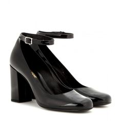 Saint Laurent Babies Patent Leather Pumps ($675) ❤ liked on Polyvore featuring shoes, pumps, heels, black, black heel pumps, patent pumps, black patent pumps, black patent leather pumps and yves saint laurent pumps