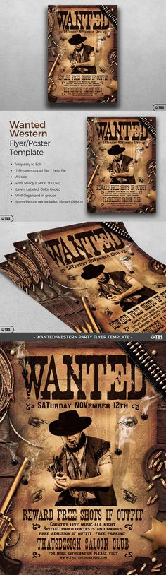 Wanted Western Party Flyer Template & 29 best Vintage Western Posters images on Pinterest | Flyer design ...
