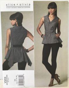 Vogue-Pattern-1214-Alice-Olivia-Sleeveless-Top-Leggings-Sz-12-18-FF-OOP