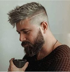 Graue haare männer Side fade, long top, and beard When trying to choose the right plants for landsca Grow A Thicker Beard, Thick Beard, Beard Fade, Men Beard, Mens Hair Fade, Mens Hairstyles With Beard, Top Hairstyles, Man Short Hairstyle, Haircuts With Beards