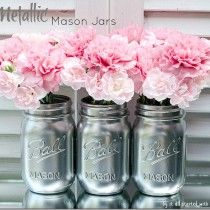 metallic maosn jars | It All Started with Paint craft blog