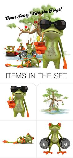"""Come Party with the frogs"" by looking-through-my-eyes ❤ liked on Polyvore featuring art"
