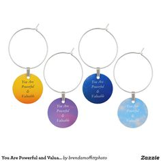 You Are Powerful and Valuable Wine Glass Charm #affirmation