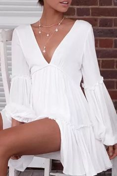 Casual Summer Dresses, Casual Dresses For Women, White Dress Casual, Formal Dresses, Simple Dress Casual, Cute Simple Dresses, Simple White Dress, Casual Outfits, Casual Clothes