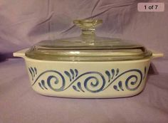 Here is a VINTAGE Corning Ware Oceanview Ocean View Casserole Dish with 1 Quart Capacity. Pattern has a Blue Swirl and item comes with its matching Pyrex Lid. Pyrex Lids, Silver Spoons, Casserole Dishes, Antique Silver, Crock, Ocean, China, Etsy Shop, Vintage