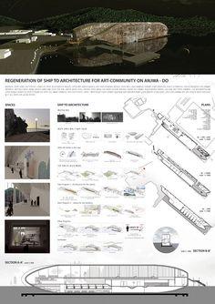 Regeneration of Ship to Architecture 이다솜   단국대/건축학과 선박은 애초부터 해양의 거친 환경을 견디도록 설계되었다. 그래서 수변 건축물로 재생되기에 매우 적합하다. 다시 말해, 해안 지역의 건축에는 기후 등의 환경적 요소를 고려한 특징들이 존재하는데 선박은 이미 그 특징들을 모두 갖추고 있는 훌륭한 수변 건축물이다. 또한 선박의 구조적/재료적/형태적 특성은 이것이 건축물로 재생되었을 때에 사용자에게 특별한 공간적 경험을 선사한다. 이러한 폐선박 건축은 매력적인 수변 건축물이 되는 것을 넘어 건축 디자인의 새로운 패러다임까지 제시할 것이다.