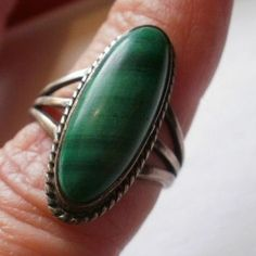 Artist Signed Sterling Malachite Ring Size 7 1/2