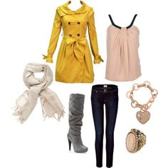 Casual/Adorable. The yellow coat, gray boots and skinny jeans w/ scarf! : )