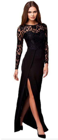 Black Lace Knit Dress