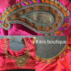 Embroidery Blouses, Aari Embroidery, Blouse Patterns, Blouse Designs, Aari Work Blouse, Kutch Work, Maggam Works, Orange Blouse, Lace Bridesmaids