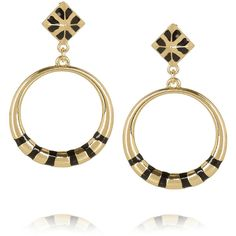 Noir Jewelry Gold-plated hoop earrings ($42) ❤ liked on Polyvore
