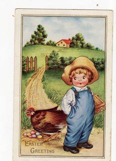 Easter Postcard vintage Boy in overalls by sharonfostervintage, $2.25