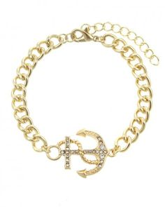 Gold Crystal Anchor Woman Bracelet from P.S. I Love You More. Shop online at: psiloveyoumore.storenvy.com