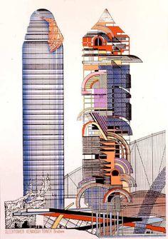 by Peter Cook - Sleektower and Veranda Tower, Brisbane,1984