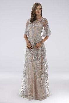 Lara Daniella Lace Cape Sleeve Dress with Crystals Style Silver, 22 Older Bride Dresses, Summer Mother Of The Bride Dresses, Mother Of Bride Outfits, Mother Of The Bride Gown, Mother Of Groom Dresses, Mob Dresses, Bride Gowns, Necklines For Dresses, Cocktail Dresses With Sleeves