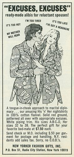 Excuses Nightshirt, 1971, Funny Vintage Advertising