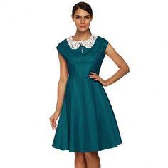 Women 1950s Retro Vintage Style Cap Sleeve Casual Party Swing Dress