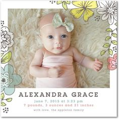 Bright Awakening - Girl Photo Birth Announcements - Hello Little One in Bloom Pink #baby