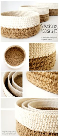 An instructional booklet with crochet patterns for three different sizes of stacking jute and cotton crochet baskets. The twenty-page PDF file contains