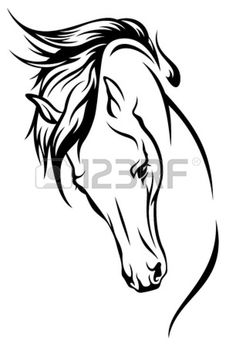 horse head with flying mane illustration Stock Vector