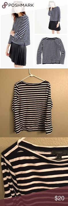 J.Crew Midweight striped boatneck T-shirt Excellent condition. A slightly heavier-weight version of our classic boatneck T-shirt, made from textured ringspun cotton—a fabric inspired by authentic old-school sailor T-shirts. J. Crew Tops Tees - Long Sleeve