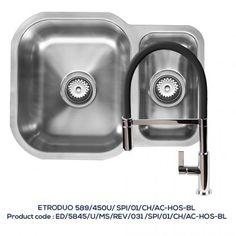 ETRODUO 589/450U REV 1.5 Bowl Sink with SPIRALE Chrome Tap with Black Hose