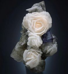 Calcite crystal 'roses' with Fluorite from Mongolia