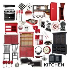 """""""BLACK AND RED KITCHEN"""" by mynextlife ❤ liked on Polyvore featuring interior, interiors, interior design, home, home decor, interior decorating, Threshold, Swanstone, Broan and John Lewis"""