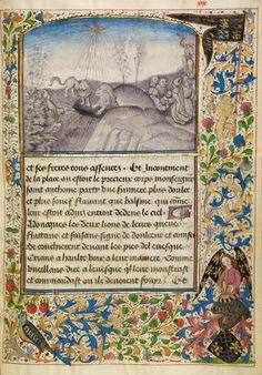 Bishop Theophilus Finding the Grave of Saint Anthony; Master of the Brussels Romuléon or workshop (Flemish, active about 1465); Brussels (probaby), Belgium; about 1465 - 1470; Tempera colors, gold leaf, gold paint, and ink on parchment; Leaf: 24.8 × 17.6 cm (9 3/4 × 6 15/16 in.); Ms. Ludwig XI 8, fol. 29; J. Paul Getty Museum, Los Angeles, California