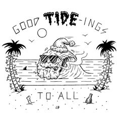Instagram media jamiebrowneart - Happy Holidays Stay Chill. Fun illo for @monsterchildren #jamiebrowneart #monsterchildren #tide #tidings #holidays #beach #australia #sun #surf #summer #santa #wave #palmtrees #dadjokes #xmas #crackers #staychill #jb