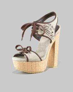 Gucci cork platform, was $850, now $382 at Neimans
