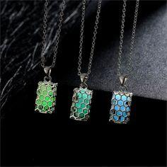 Glow in The Dark Geometric Honey Comb Pendant Necklace Women's Jewelry Gift NEW! #GlowInTheDark