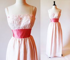 Long Formal Dress Pink Gown Reception Dress by StraylightVintage