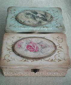 AMP Home - Wooden painting box models - Shabby Chic Crafts, Shabby Chic Pink, Crochet Tunic Pattern, Wooden Painting, Altered Cigar Boxes, Decoupage Box, Craft Items, Handmade Gifts, Decorative Boxes