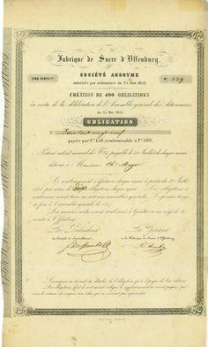 HWPH AG - Historische Wertpapiere - Fabrique de Sucre d'Offenburg Société Anonyme / Offenburg, 25.05.1855, 5 % Obligation über 500 Francs