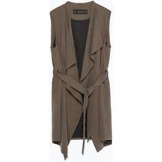 Zara Long Waistcoat (695 DKK) ❤ liked on Polyvore featuring outerwear, vests, vest, coats, khaki, long vest, zara vest, brown vest, waistcoat vest and khaki vest