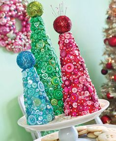 Want to make a Christmas topiary? Make a beautiful, bountiful, Blue Button Topiary Christmas Topiary, Winter Christmas, Christmas Holidays, Christmas Decorations, Christmas Ornaments, Christmas Vignette, Christmas Colors, Button Ornaments, Button Tree