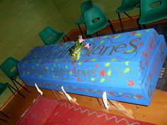 One of our cardboard Environ coffins beautifully decorated by a family