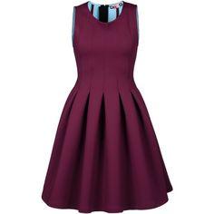MSGM Short dress ($284) ❤ liked on Polyvore featuring dresses, vestido, turtleneck top, sleeveless turtleneck, zip back dress, short dresses and purple turtleneck