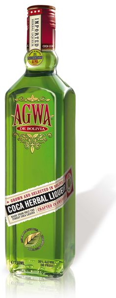 "AGWA. Bolivian Coca Leaf liqueurs are said to date back to the De Medici family with Rudyard Kipling going as far as to state that they were made ""from the clippings and shavings of angels' wings"". Agwa, distilled in the Netherlands, adds Chinese Green Tea, African Mint, Amazonian and Argentinean Guarana, and Ginseng to their (de-cocainised) Bolivian Coca Leaf as part of 37 different herbs and botanicals."