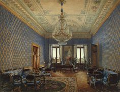 Interiors of the Winter Palace. The Drawing-Room of Grand Princess Maria Nikolayevna - Konstantin Andreyevich Ukhtomsky - Drawings, Prints and Painting from Hermitage Museum