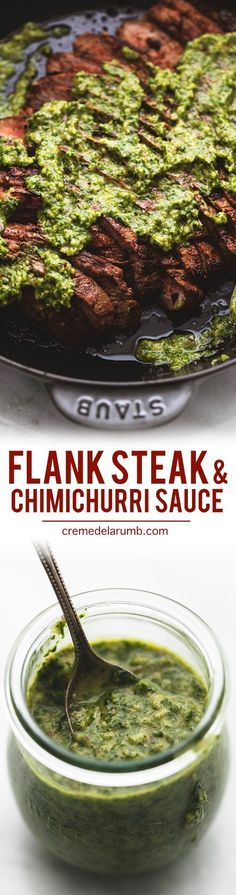 Easy Argentinean marinated flank steak with chimichurri sauce is bursting with bold savory flavors and just a hint of heat. This quick-seared steak is so tender and juicy it will melt in your mouth Meat Recipes, Paleo Recipes, Mexican Food Recipes, Cooking Recipes, Healthy Steak Recipes, Steak Dinner Recipes, Skirt Steak Recipes, Flank Steak Recipes, Grilling Recipes