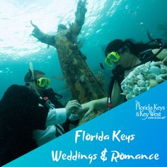 """There's no more all-inclusive destination in which to pledge """"I do"""" than the subtropical Florida Keys, the naturally romantic chain of islands known as """"America's Caribbean. Underwater Wedding, Meaningful Photos, Florida Keys Wedding, Nature Words, Glass Bottom Boat, Key West Wedding, Marriage License, Wedding Honeymoons, State Of Florida"""