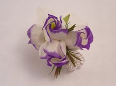 White & purple lisianthus corsages on beaded bracelet Corsages, Hair And Nails, Beaded Bracelets, Wedding Ideas, Purple, Flowers, Plants, Pearl Bracelets, Plant