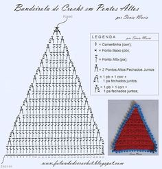 Triangle bunting, free pattern in Portugese with lots of charts by Falando de Crochet. Crochet Triangle Pattern, Crochet Diagram, Crochet Chart, Crochet Basics, Love Crochet, Crochet Motif, Crochet Designs, Crochet Doilies, Crochet Flowers